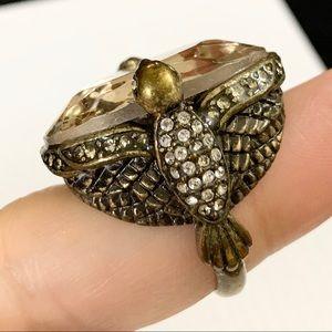 Women's Fossil Pink Glass Ring Brass Statement Sz8